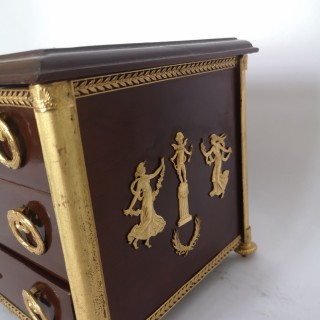 Late 19th Century French Mahogany Empire Style Miniature Chest