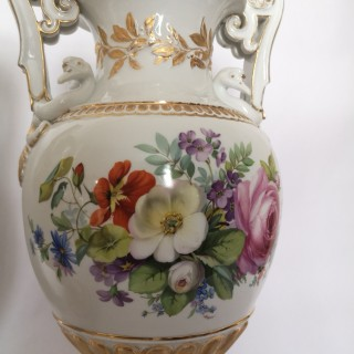 Pair Of Large 19th Century Meissen  Porcelain Floral Vases