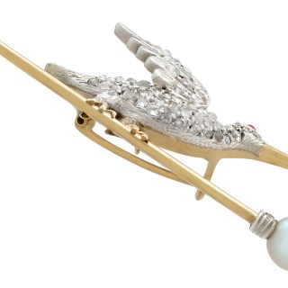 Ruby and 1.17ct Diamond, Pearl and 9ct Yellow Gold Bird Brooch - Antique Circa 1900