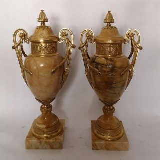 Pair Of 19th Century Sienna Marble And Gilt Bronze Cassolettes