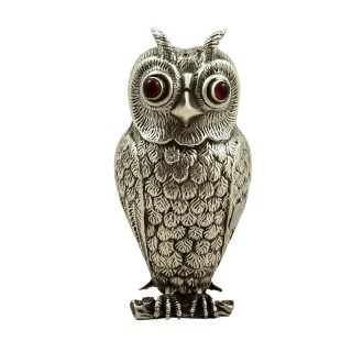 Antique Continental Silver Owl Pepper Pot c1920
