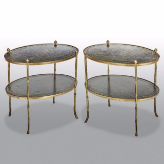 Pair of Low Brass Two-Tier Étagères