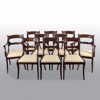 Set of 10 Mahogany Regency Period Dinning Chairs