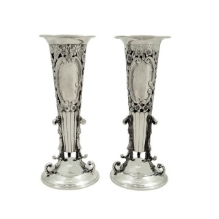 Pair of Antique Edwardian Sterling Silver Vases 1904