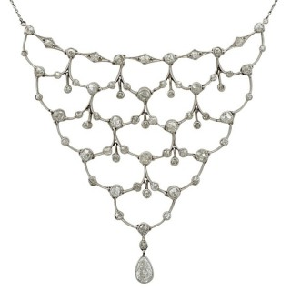 4.40ct Diamond and Platinum Necklace - Antique Circa 1920