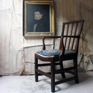 A George III Oak Open Elbow Chair c.1800