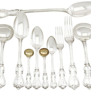 Sterling Silver Canteen of Cutlery for Twelve Persons by William Eaton - Antique Victorian (1844)
