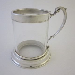 Antique Victorian Sterling silver and glass mug