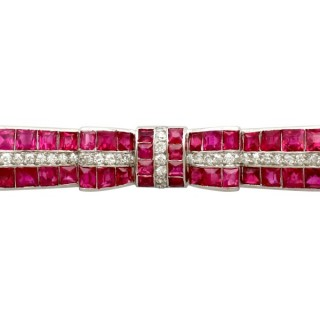 6ct Ruby and 1.31ct Diamond, Platinum Bow Brooch - Antique Circa 1925