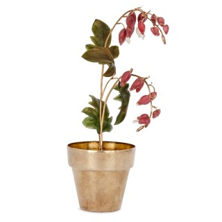 Faberge style model of bleeding heart flowers, retailed by Tiffany