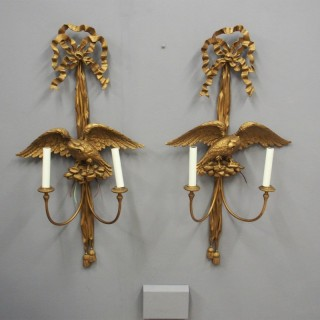 Pair of Carved Giltwood Eagle Design Wall Sconces