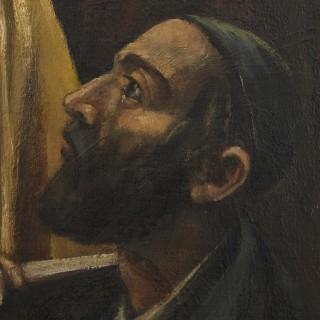 Polish oil painting of Jewish men studying by Arthur Bryks
