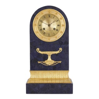 Restauration period gilt bronze mounted lapis mantel clock
