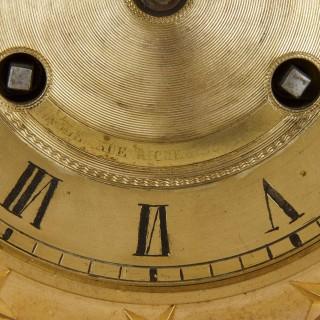 Restauration period gilt bronze mounted lapis mantel clock