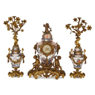 Japanese Imari porcelain and gilt bronze clock set