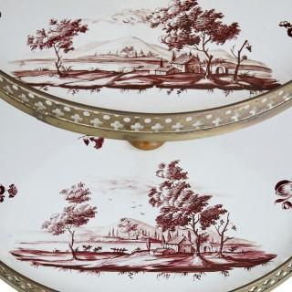Antique gilt bronze and porcelain cake stand