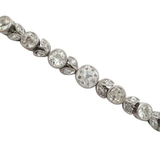 3.20 ct Diamond and 18 ct White Gold, Platinum Bracelet - Antique Circa 1930