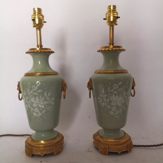 Pair Of Late 19th Century French Pate Sur Pate Porcelain Lamps