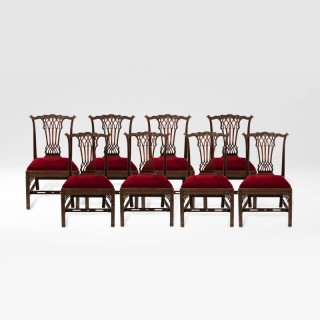 A Set of Eight Side Chairs in the Georgian Gothick Manner