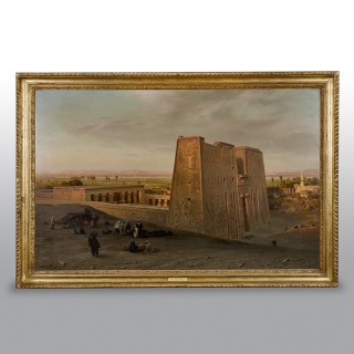 Orientalist Painting Of The Temple Of Horus At Edfu, By Ernst Karl Koerner 1888