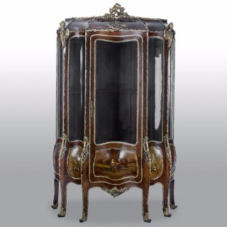 French 19th Century Gilt Bronze Vernis Martin Vitrine Cabinet