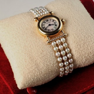 Cartier Diabolo 18 Karat Gold Ladies Watch with Pearl and Diamond Bracelet