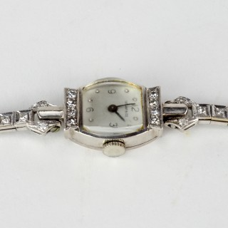 Tiffany 14k White Gold Ladies Wristwatch