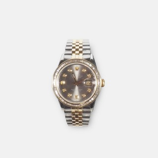Rolex Yellow Gold and Stainless Steel DateJust Oyster Perpetual 36mm Wristwatch with a Custom Diamond Bezel