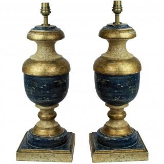 A PAIR OF FLORENTINE COBALT BLUE LAMPS