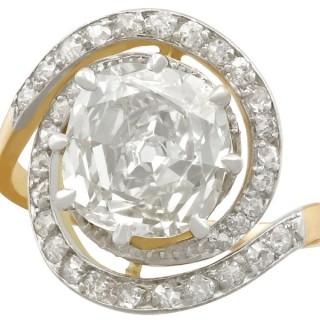 3.32ct Diamond and 18ct Yellow Gold, Platinum Set Twist Ring - Antique Circa 1900