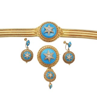 1.82 ct Diamond and Turquoise, 18 ct Yellow Gold Jewellery Set - Antique Early Victorian