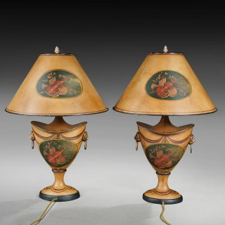 Pair of 20th Century Urn Shaped Toleware Lamps With A Musical Theme