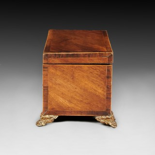 Georgian Mahogany Inlaid Tea Caddy