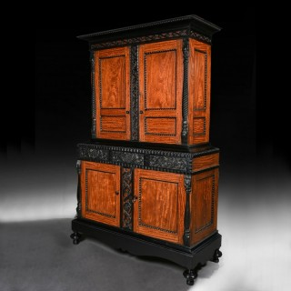 Fine 19th C Ceylonese Indo-Dutch Satinwood and Ebony Cabinet