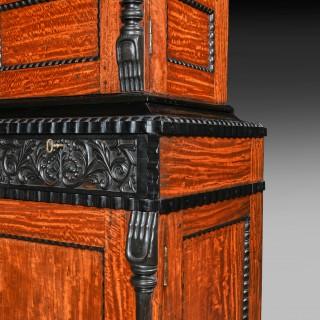 Fine 19th C Ceylonese Indo-Dutch Satinwood and Ebony Cabinet