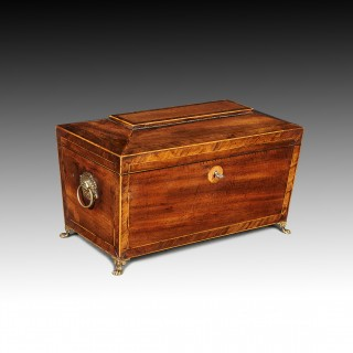 George IV Mahogany Sarcophagus Shaped Tea Caddy