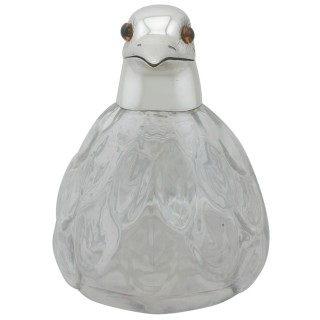 Glass and Sterling Silver Mounted 'Bird' Claret Jug by Asprey & Co Ltd - Vintage (1961)