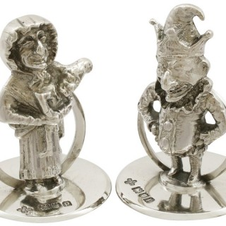 Sterling Silver 'Punch and Judy' Card/Menu Holders - Antique George V (1910)