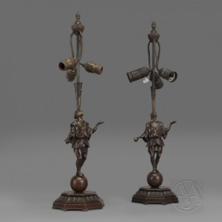 A Pair of Art Deco Patinated Bronze 'Juggler' Figural Table Lamps by Roland Paris