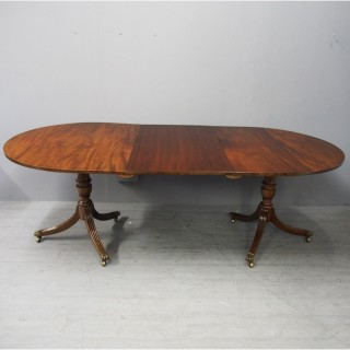 Regency Style Mahogany Twin Pillar Dining Table with 1 Leaf