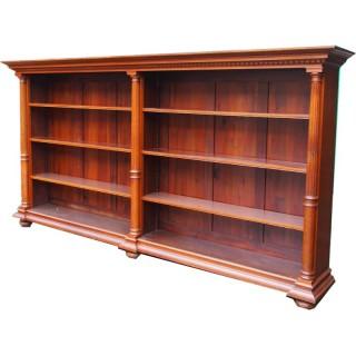 Victorian Oak Baroque Style Open Bookcase