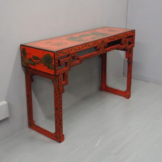 Red Lacquered and Painted Chinese Hall Table