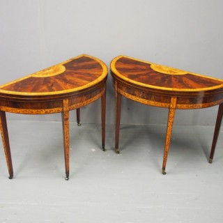 Pair of George III Mahogany Inlaid and Penwork Games Tables