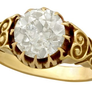 2.30 ct Diamond 18 ct Yellow Gold Solitaire Ring - Antique Victorian
