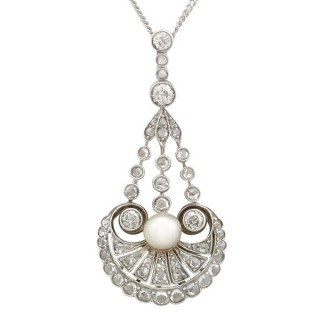 Natural Pearl and 1.48ct Diamond, 12ct Yellow Gold Pendant - Art Deco - Antique Circa 1890