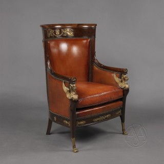 A Large Empire Style Gilt-Bronze Mounted Mahogany Desk Chair