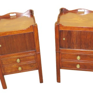 Georgian Mahogany Antique Pair Of Bedside Night Tables