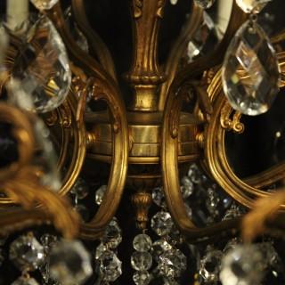 Italian 15 Light Double Tiered Antique Chandelier