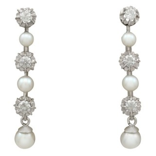 Cultured Pearl and 1.09ct Diamond, 9ct White Gold Drop Earrings - Vintage Circa 1965