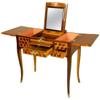 18th Century French Louis XV Cube Pattern Marquetry Dressing Table or Coiffeuse